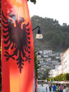 Albania flag view Berat
