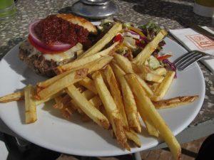 camel burger at cafe clock marrakech