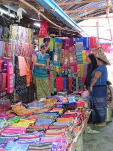 Longyi stall at local market in Kalaw